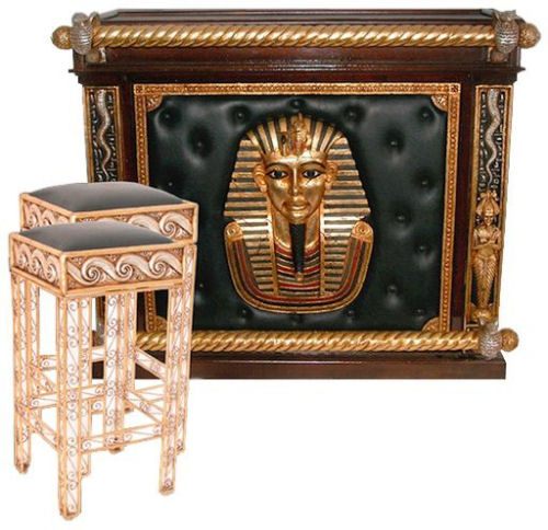 egyptian themed bar with two bar chairs